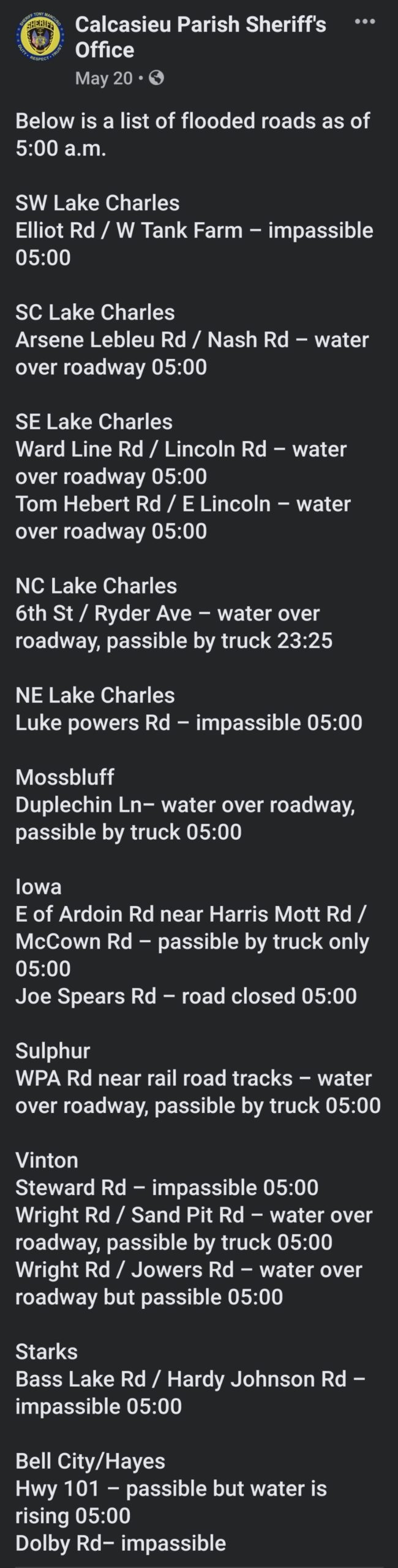 Alert ⚠️ roads flooded currently.